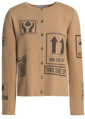 Moschino Printed Ribbed Wool Cardigan