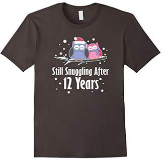 IDEA 12th Anniversary Owl T-shirt Cute Couples 12 Years Gift