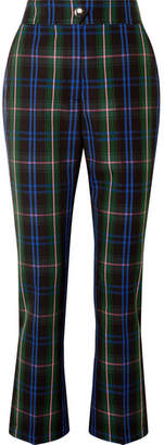 MSGM Button-detailed Checked Twill Straight-leg Pants - Navy