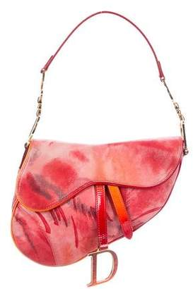 Christian Dior Embossed Suede Saddle Bag