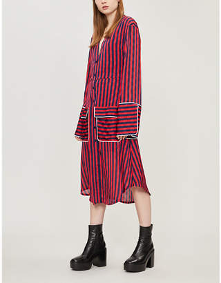 House of Holland Striped satin midi dress