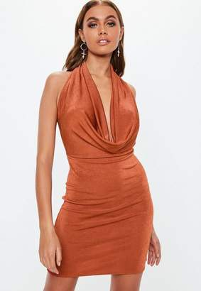 Missguided Rust Slinky Extreme Cowl Bodycon Mini Dress