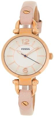 Fossil Women's Georgia 3 Hand Leather Strap Watch, 26mm