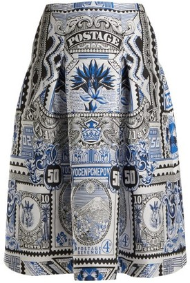 Mary Katrantzou Talona Postcard Jacquard Midi Skirt - Womens - Blue Multi