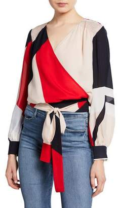 Tanya Taylor Klara Colorblock Long-Sleeve Wrap Top