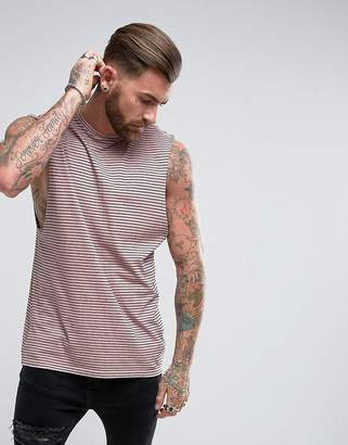 Asos DESIGN Neppy Jersey Stripe Sleeveless T-Shirt With Dropped Armhole In Pink