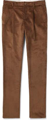 De Bonne Facture Tapered Pleated Cotton-Corduroy Trousers