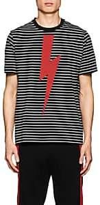 Neil Barrett Men's Graphic Striped Cotton T-Shirt - Black