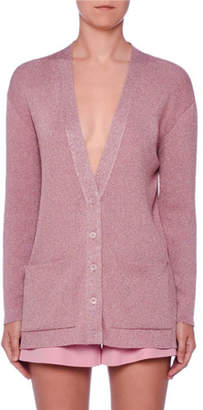 Stella McCartney V-Neck Button-Front Metallic-Knit Oversized Cardigan