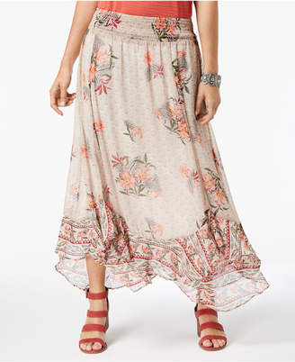 Style&Co. Style & Co Floral-Print Flutter-Hem Skirt, Created for Macy's