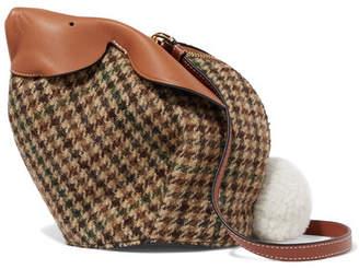 Loewe Bunny Mini Shearling Pompom-embellished Tweed And Textured-leather Shoulder Bag - Tan
