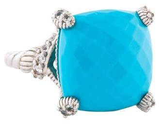 Judith Ripka Synthetic Turquoise & Sapphire Cocktail Ring