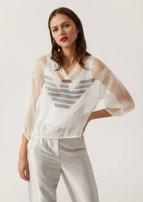 Emporio Armani Silk Organza Blouse With Logo