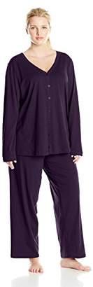 Jockey Women's Plus-Size Plus-Size Cotton Cardigan Pajama Set