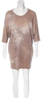 Black Crane Watercolor Print Dolman Sleeve Dress