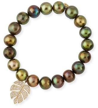 Sydney Evan Olive Pearl Beaded Bracelet with Diamond Monstera Leaf Charm