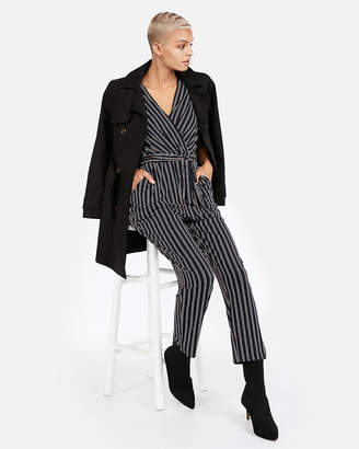Express Petite Striped Tie-Waist Surplice Jumpsuit