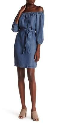 Love Stitch Off-the-Shoulder Belted Dress