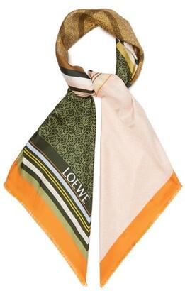 Loewe Logo Print Patchwork Silk Scarf - Womens - Orange