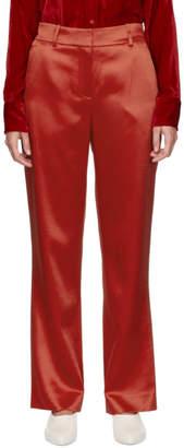 Sies Marjan Red Tatum Satin Straight Leg Trousers