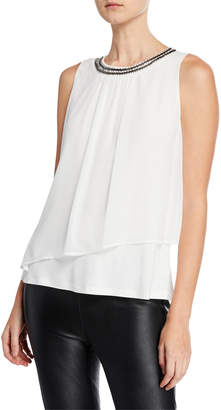 Neiman Marcus Sleeveless Jewel-Neck Chiffon Blouse w/ Asymmetric Overlay