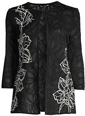 Misook Women's Sheer Floral Embroidered Jacket