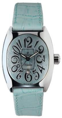 Montres de Luxe Women's BI3 AZZ Bisanzio Stainless Steel Luminous Aqua Leather Date Watch