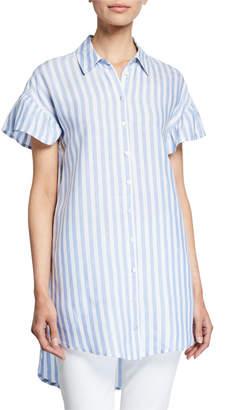 Neiman Marcus Button-Down Stripe Flutter-Sleeve Tunic