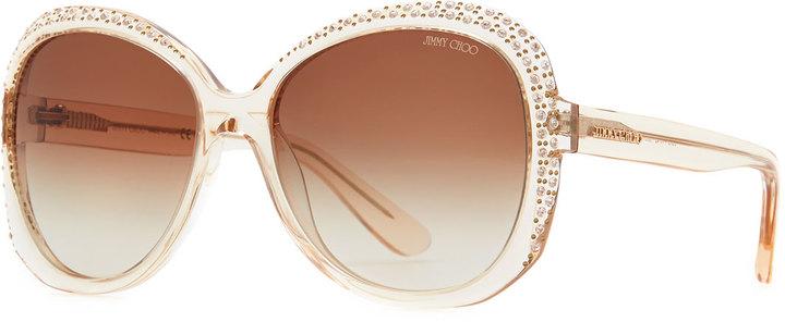 Jimmy Choo Lu Crystal Sunglasses, Nude