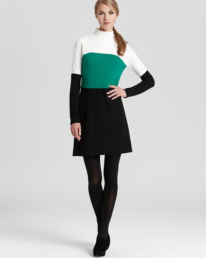Milly Color Block Dress - Turtleneck Wool Jersey