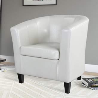 Corliving CorLiving Antonio Bonded Leather Tub Chair, Creamy White