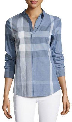 Burberry Burberry Check Long-Sleeve Cotton Shirt, Blue