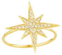 Sydney Evan Medium 14K Yellow Gold Diamond Starburst Ring, Size 6.5