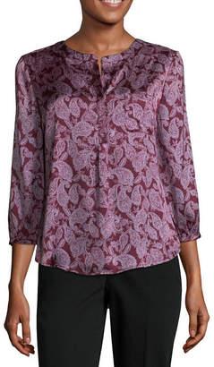 Liz Claiborne 3/4 Sleeve Y Neck Woven Blouse-Petite