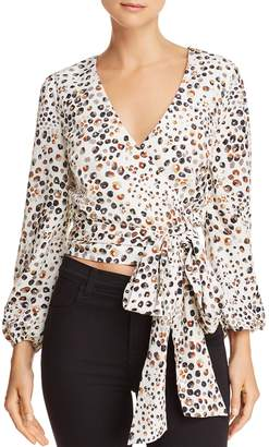 J.o.a. Cropped Leopard-Print Wrap Top