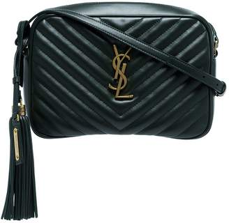 Saint Laurent green lou quilted leather camera bag