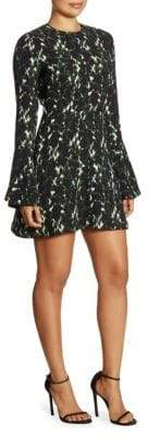 A.L.C. Trixie Printed Silk Bell Sleeve Mini Dress