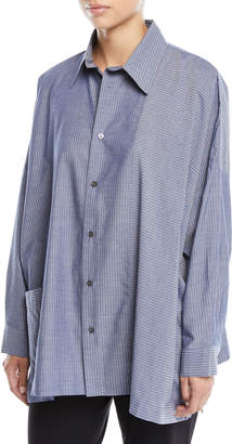 eskandar Collared Wide Melange-Stitched Striped Cotton Shirt