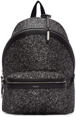 Saint Laurent Black and Silver Glitter City Backpack