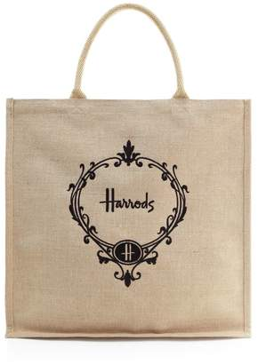 Harrods Roundel Jute Shopper Bag