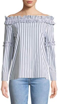 P. Luca Striped Off-The-Shoulder Poplin-Blouse