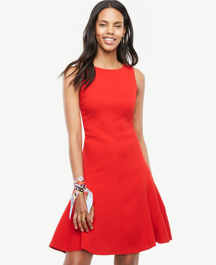 Ann Taylor Petite Strappy Back Flare Dress