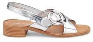 Prada Women's Leather Slingback Block-Heel Sandals - Silver - Size 35 (5)