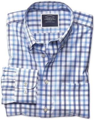 Charles Tyrwhitt Slim Fit Non-Iron White and Blue Large Check Cotton Casual Shirt Single Cuff Size Medium