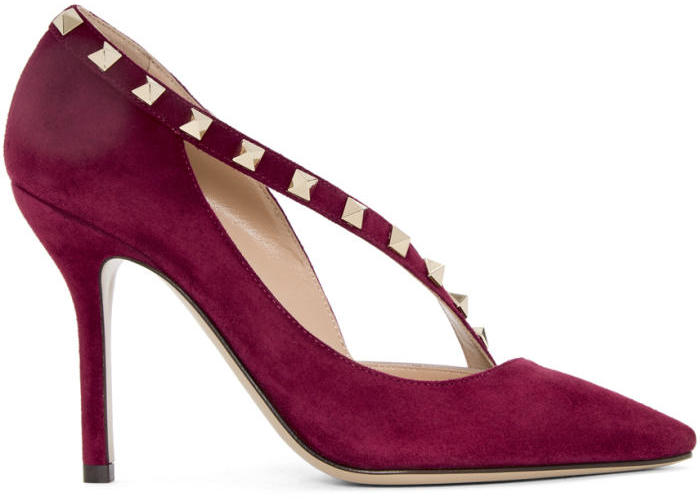 Valentino Burgundy Valentino Garavani Suede Rockstud DOrsay Heels