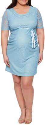 PLANET MOTHERHOOD Planet Motherhood Elbow Sleeve Scoop Neck Lace Dress - Plus Maternity