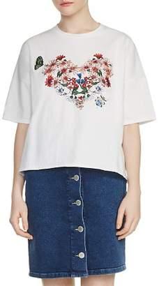 Maje Tama Floral Embroidered Tee