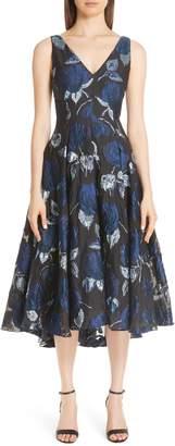 Lela Rose Metallic Floral Fil Coupe Fit & Flare Midi Dress