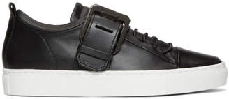 Lanvin Black Square Buckle Nappa Leather Sneakers