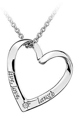 Camilla And Marc Lily & Lotty Rhodium Plated 925 Sterling Silver Hand Set Diamond Darcy Live, Love and Laugh Heart Necklace of Length 40 cm + 5 cm Extender